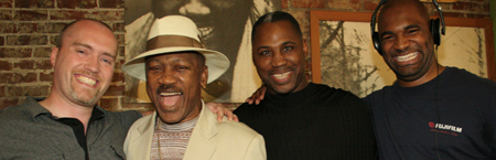 Director Mike Todd with Smokin' Joe Frazier, Marvis Frazier and DOP, Quenell Jones