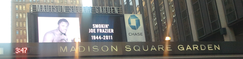 Madison Square Gardens, NYC - the world learns of Joe's passing